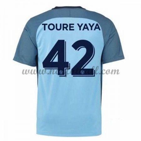 Billige Fotballdrakter Manchester City 2016-17 Toure Yaya 42 Hjemme Draktsett Kortermet