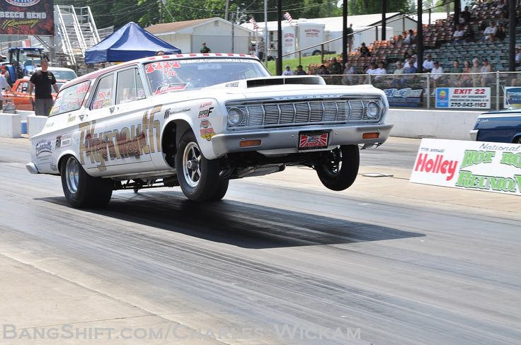 "Wheelstanding 1964 Plymouth "" Drag'n Wagon"" Drag Racing"