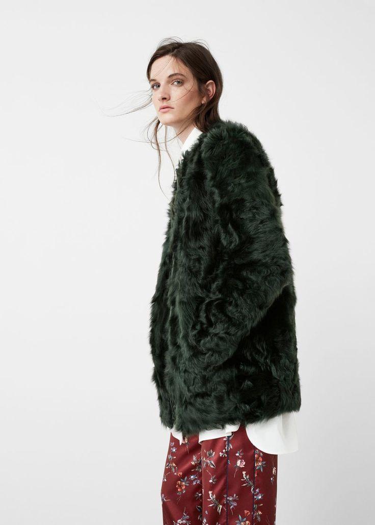 Manteau cuir fourrure | MANGO