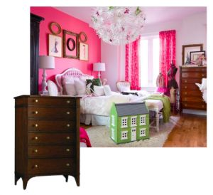 This hot pink bedroom with a classic dresser, great idea.