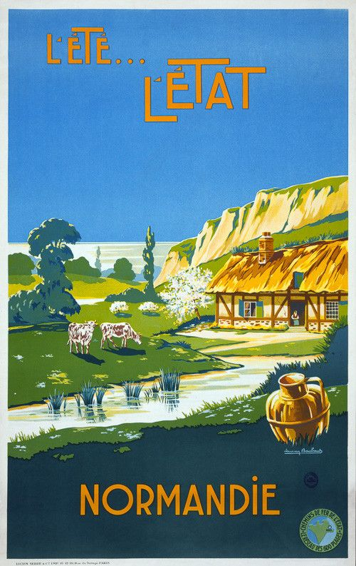 L'été, l'état, Normandie (Summer, the Province of Normandy). A vintage French advertisement for the Normandy coast shows a rural scene with cows a cottage, cliffs and the sea. Circa 1930s. Illustrated