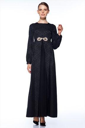 Gönül Kolat - Kadın Tekstil - Siyah Elbise G078 sadece 279,99TL ile Trendyol da
