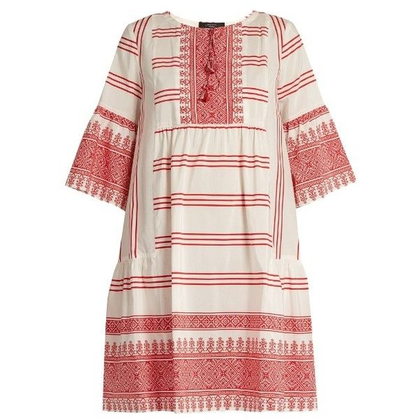 Weekend Max Mara Floria dress ($495) ❤ liked on Polyvore featuring dresses, red print, red necktie, neck ties, pink dress, bohemian style dresses and bohemian dresses