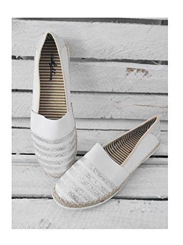 Fashion Trend Mode Slipper Espadrille Damenschuhe Ballerinas Flats weiß silber casual boho 39 (8059)
