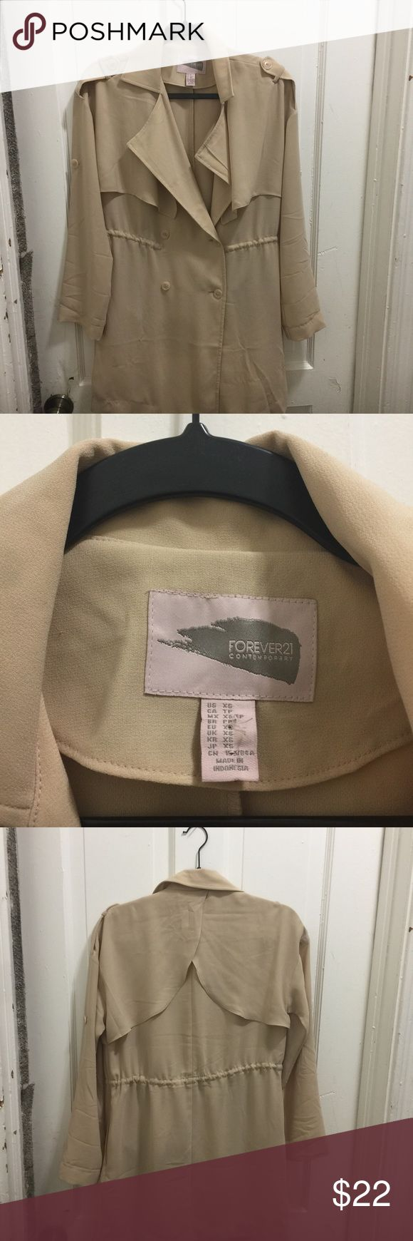 Forever 21 Lightweight trench jacket Cute trench jacket by Forever 21 size is XS but can fit Medium to Large Forever 21 Jackets & Coats Trench Coats