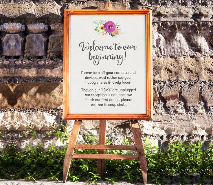 Unplugged Wedding Sign - Digital Download Wedding Sign - Floral Wedding Decor - Printable Wedding Sign - DIY Wedding Decor - No Camera Sign by SmudgeCreativeDesign on Etsy