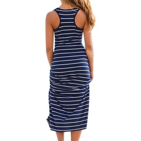 Sexy Women Plus Size Maxi Long Dress Summer Style Ladies Beach Vest Dress  Striped Boho Long Sleeveless Casual Dress M0095 55116fb0d32b