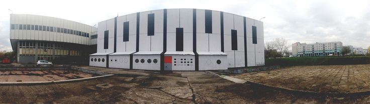 Audiomural NCK w Nowej Hucie rybim okiem. AudioMural NCK 800 m2 ||| 12 days ||| 17 people ||| Nowa Huta Cultural Center in Cracow, Poland ||| October 2013 #nowahuta #publicart #streetart #krakow #cracow #poland #polska