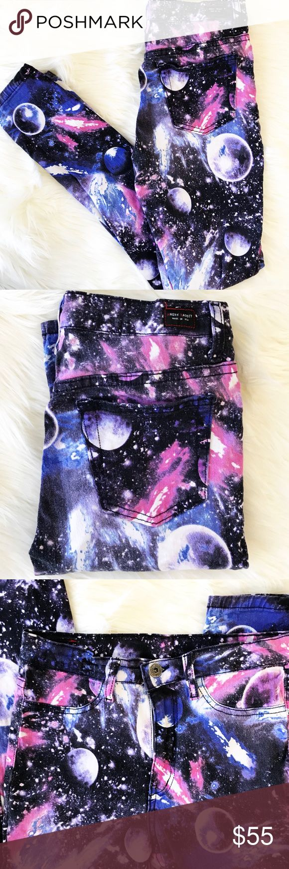 Angry Rabbit : Galaxy Printed Skinny Jeans 98% Cotton, 2% Spandex skinny jeans. All over galaxy print. Size 28. No holds or trades. Bundle to save. Open to offers! Angry Rabbit Jeans Skinny