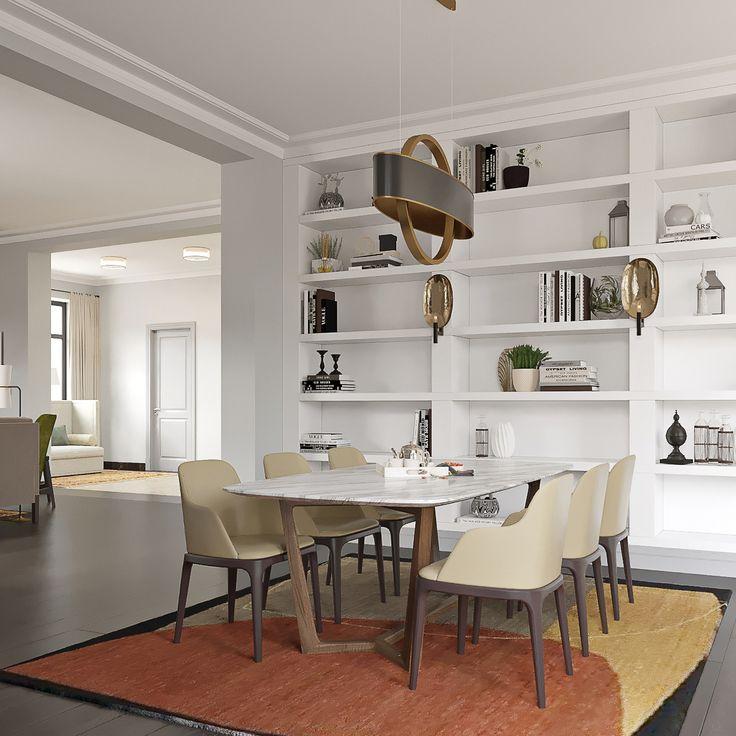 Выделить отдельные зоны в квартире поможет ковер. Чтобы привлечь внимание с столовой группе, стол и стулья располагают на ковре. Но не стоит стелить в обеденной зоне изделие с длинным ворсом, здесь уместны лишь те покрытия, которые хорошо чистятся и отталкивают влагу.