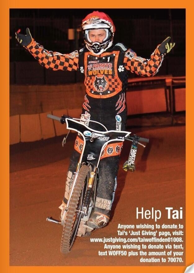 Tai woffinden celebrating.. Will also be doing his bit for cancer research by bike riding from Wolverhampton to Cardiff.. Search online to support :) <3