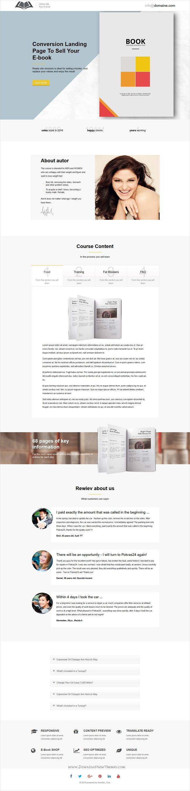 E- Marketing HTML Landing Page Templates | Book authors and Template