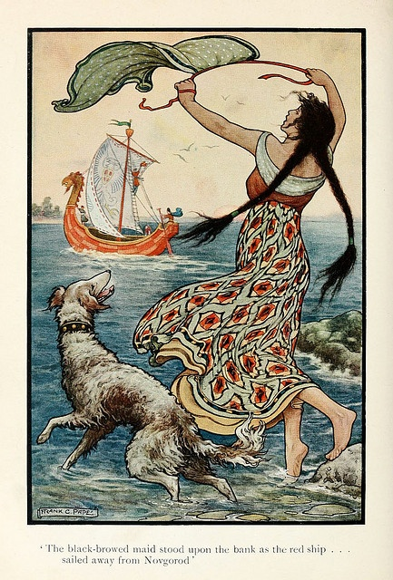 'The black-browed maid stood upon the bank as the red ship... sailed away from Novgorod.' The Russian Story Book, 1916, illustrated by Frank Cheyne Pape.