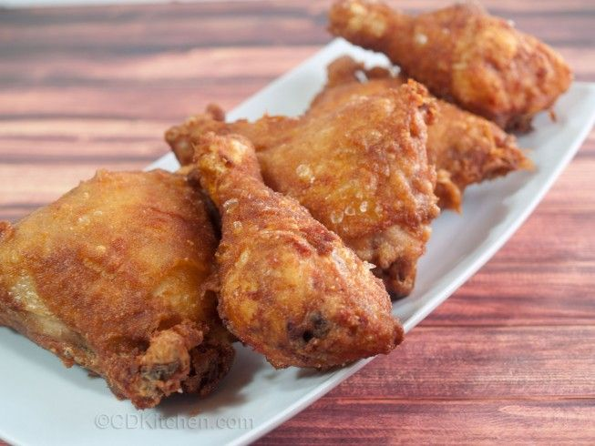 Beer Batter Chicken - CDKitchen.com -  Chicken is dipped in a batter of flour, salt, black or red pepper, garlic powder, and beer, and fried until crispy and cooked through.