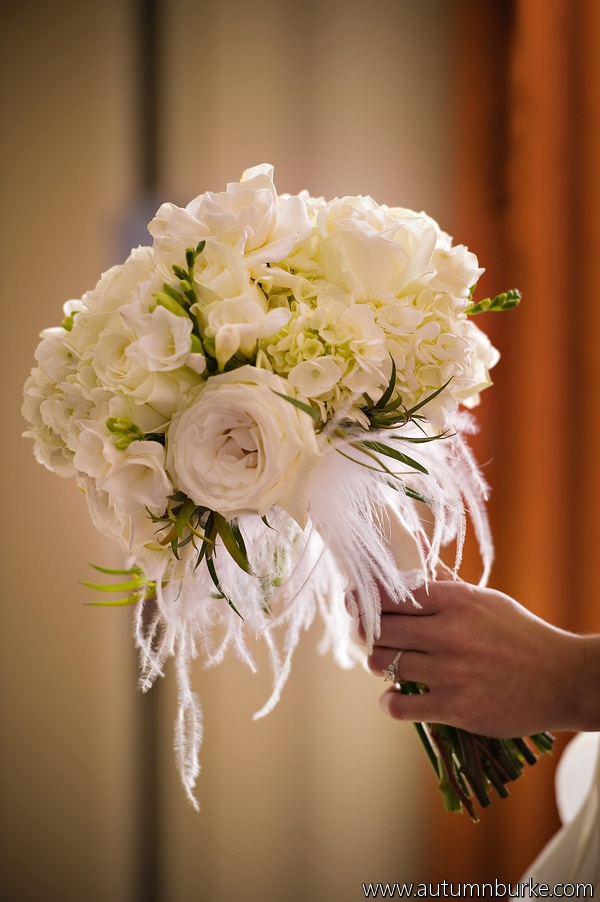 White Bride Bouquet With Feathers From Denver Weddings
