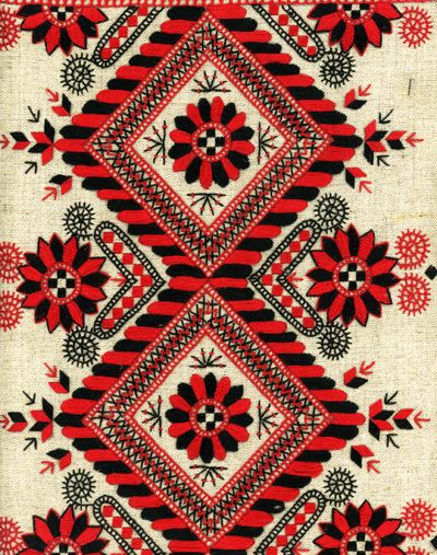 Embroidery on linen-  this is apparantly Russian, its very similar to Buzsak style  but black rather than blue