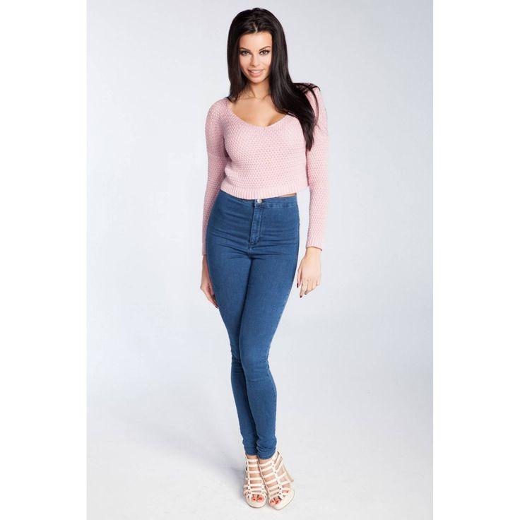 Bluza roz deschis scurta lungime pana in talie Fobya