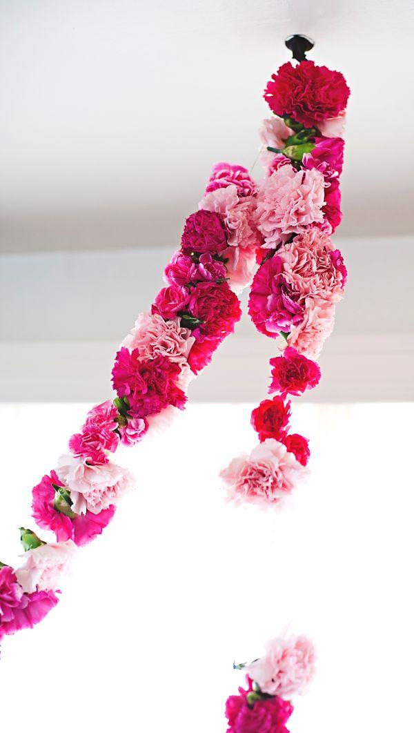 Bright and bold carnation garland