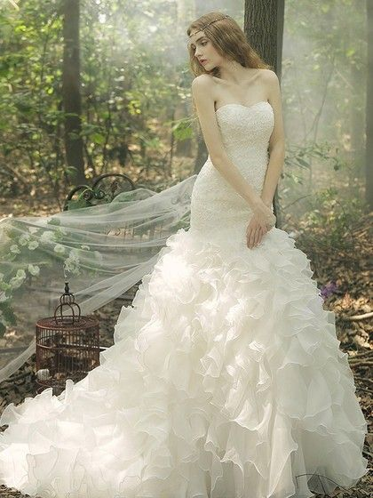 Trumpet/Mermaid Sweetheart Organza Court Train Cascading Ruffles Fashion Wedding Dresses - dressesofgirl.com