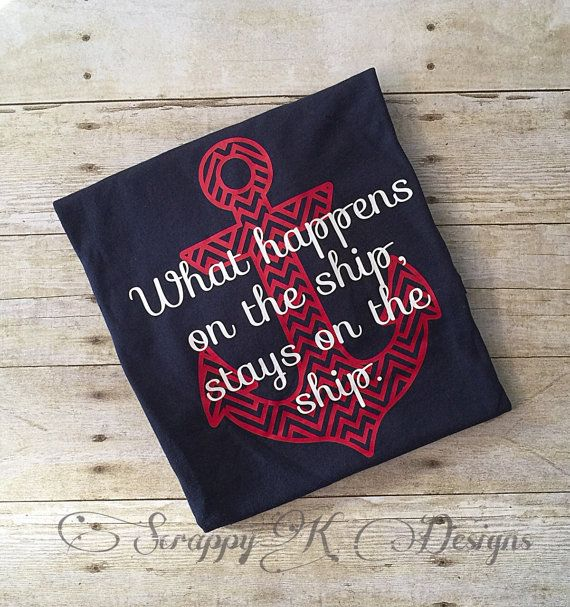 These are the perfect shirts for those family cruise vacations or those group cruise getaways. This listing is for one cruise shirt that says What happens on the ship, stays on the ship. You can customize your cruise shirts to fit your needs as well. This listing is done on a navy blue unisex tee with a red, chevron anchor and white font. If youre looking for a different color selection, please send me a message and we can work out another color option for you…