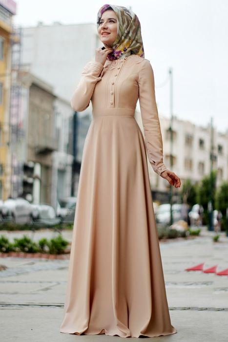 Hilal Baş Pudra Yaka Desenli Elbise