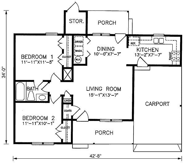 Country Ranchhouse Plans: Ranch Style House Plan 45387 With 2 Bed , 1 Bath , 1 Car