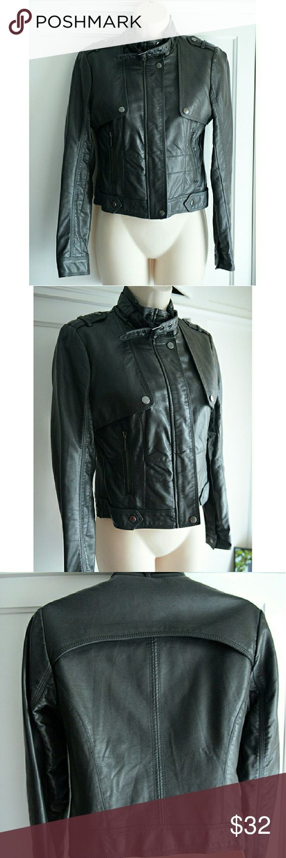 VGUC Charcoal Gray Faux Leather Zara Moto Jacket This is a