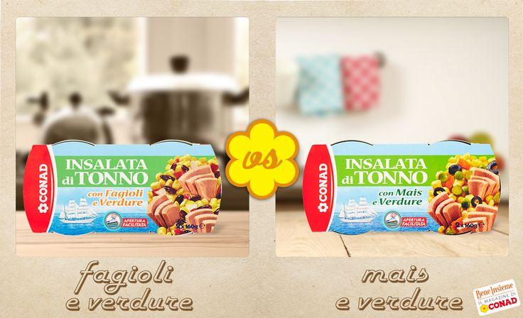 L'insalata di #tonno è un classico dell'estate: la preferisci con #fagioli e verdure o con #mais e verdure?