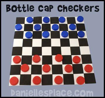 Milk Jug Caps Checker Board Game Kids Can Make from www.daniellesplace.com