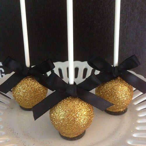 12 Gold 50th Anniversary New Years Eve Cake Pops Black Tie Wedding Retirement Golden Birthday Shimmer Glitter Disco Dust