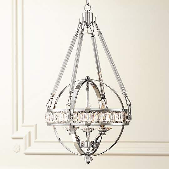 Victoria Chrome Clear Crystal Contemporary Chandelier - #EU8G407 - Euro Style Lighting