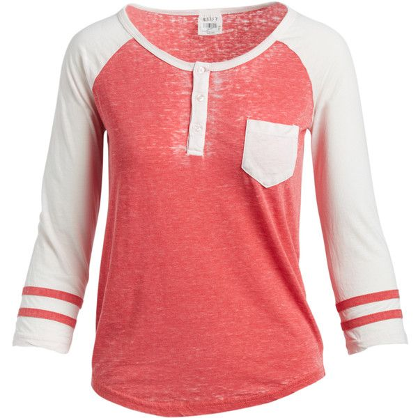 Exist Paradise Pink & Natural Vintage Raglan Tee ($13) ❤ liked on Polyvore featuring tops, t-shirts, long length t shirts, raglan sleeve t shirt, raglan tee, sporty t shirts and long tee