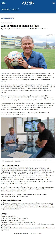 Zico confirma presença em jogo. Reportagem do jornal A Hora, 19 outubro de 2017.