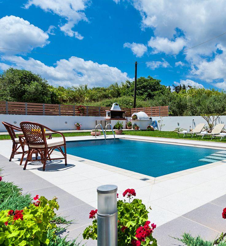 Villa Anastasia in Platanias, Chania Crete. 4-bedroom villa with sea views, private pool and garden, located in a popular destination in Crete, 1000m from the sandy beach.