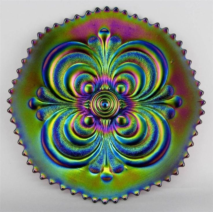 Purple carnival glass plate by Imperial Glass Co.
