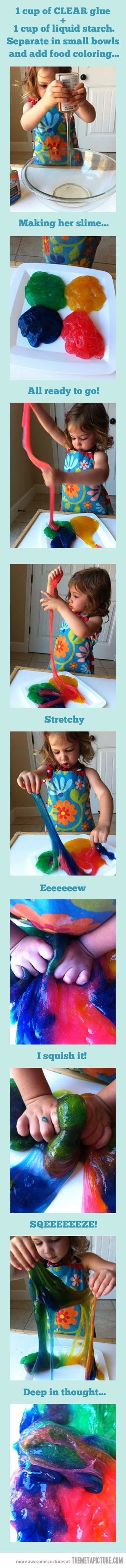 Easy, water soluble Slime for Montessori Sensory play! One cup clear glue, one cup liquid starch