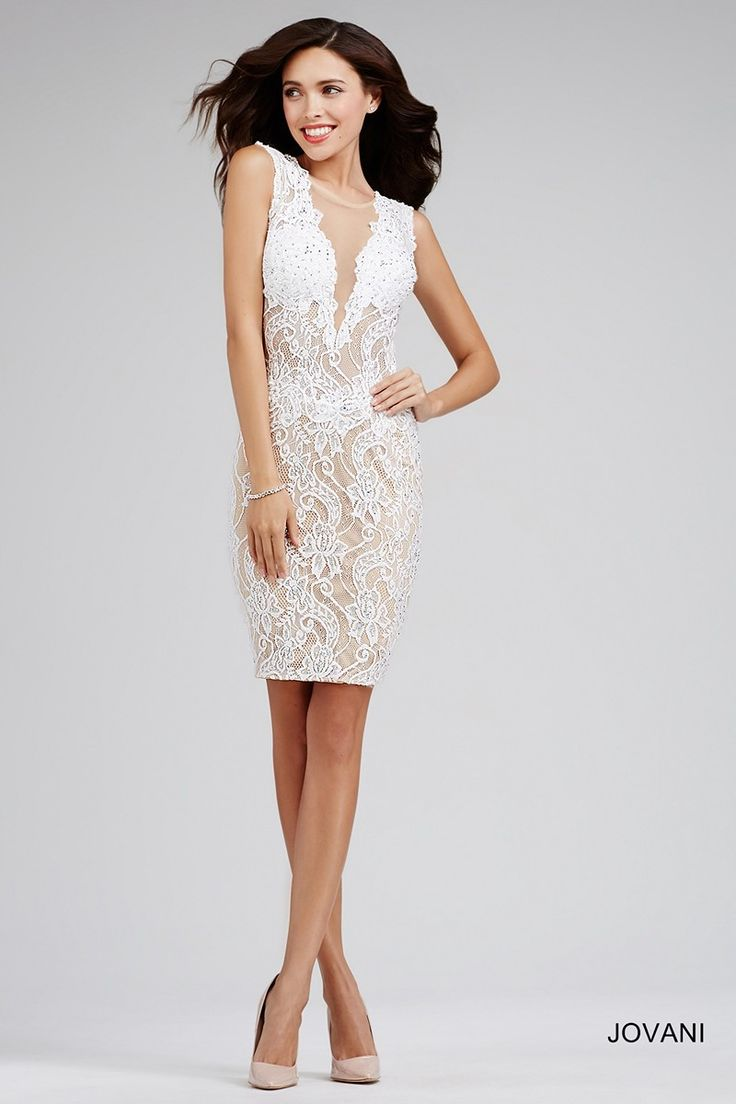 Boost your sensual appeal with the Jovani 26938 homecoming dress, an above-the-knee ensemble featuring a form-fitting sheath silhouette. The nude lining creates a striking contrast to the lace overlay, dominating its entirety. A triangular mesh conceals the decolletage, defining the illusion scoop neckline while complementing the enormous cutout at the back.