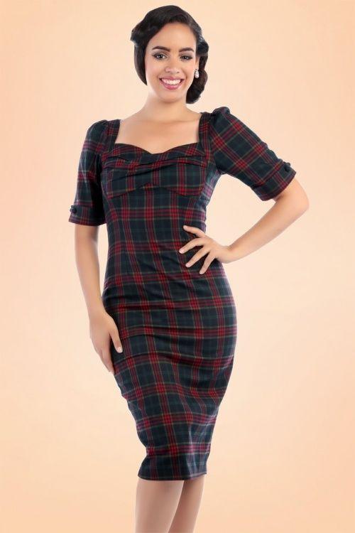 Collectif Clothing Rizzo Hanna Check Pencil Dress 16156 20150624 0003WV