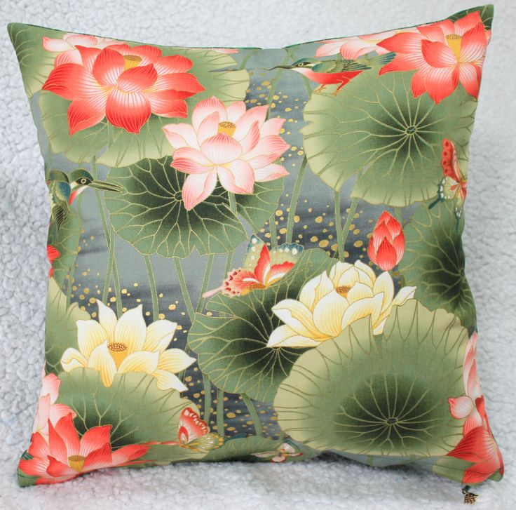 Water Lily Cushion Cover, Green Cushion Cover, Bird Cushion Cover, Butterfly Cushion Cover, Living Room, Conservatory, Gifts for Her by C4Cushions on Etsy