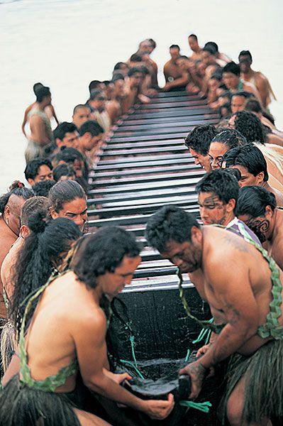 Kia Kaha!    Maori war canoe, New Zealand
