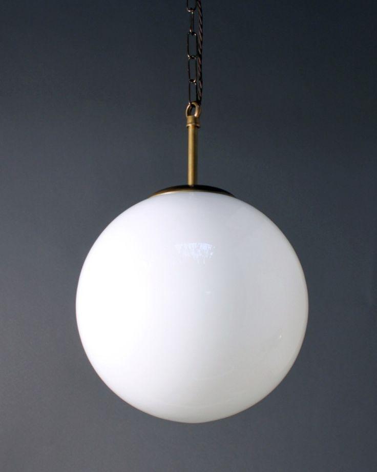 Globe Light Pendant White Glass Shade Incandescent Bulb