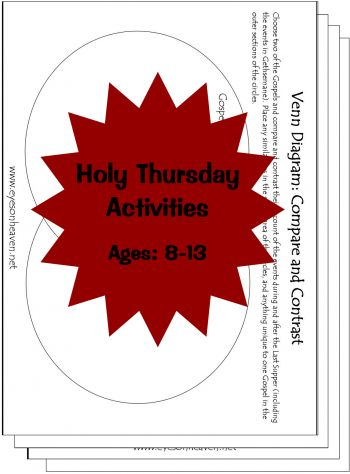 holy thursday printable activities suggested ages 8 13 catholic pinterest pinterest. Black Bedroom Furniture Sets. Home Design Ideas