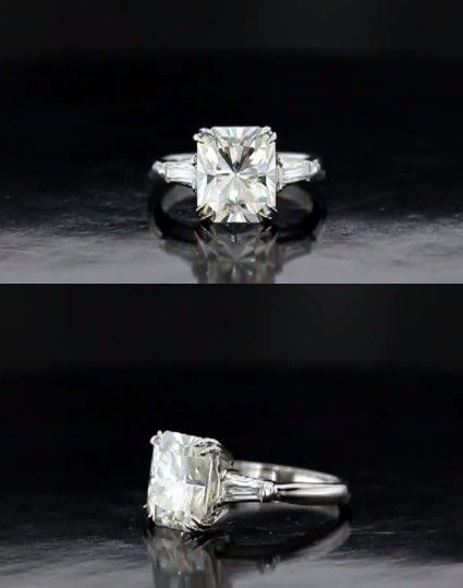 Harry Winston style engagement ring with radiant and baguettes