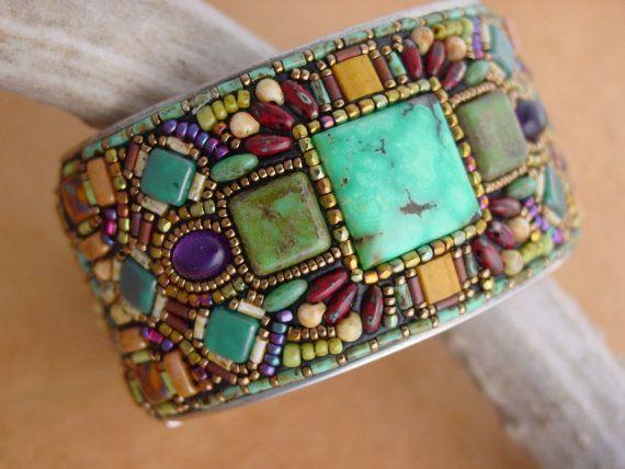 Beads set in epoxy clay - OOAK - Mosaic Channel Cuff Bracelet by HeidiKummliDesigns on Etsy