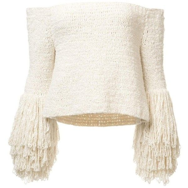 Crochet Fringe Sweater ($2,400) ❤ liked on Polyvore featuring tops, sweaters, shirts, blouses, shirt top, white top, boucle sweater, crochet tops and white shirt