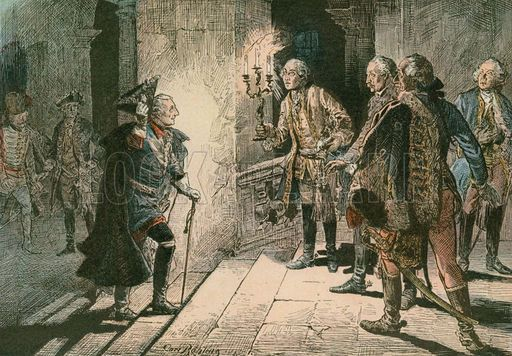 Frederick the Great (1712-1786) at the Castle of Lisbon on the evening of the battle of Leuthen in 1757. Illustration from House of Hohenzollern in Pictures and Words by Carl Rohling and Richard Sternfeld. Published by Martin Oldenbourg in Berlin, c 1900.