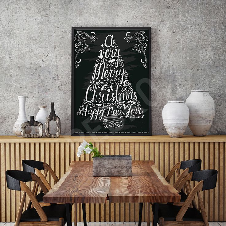 Black and white #Christmas #decor #poster