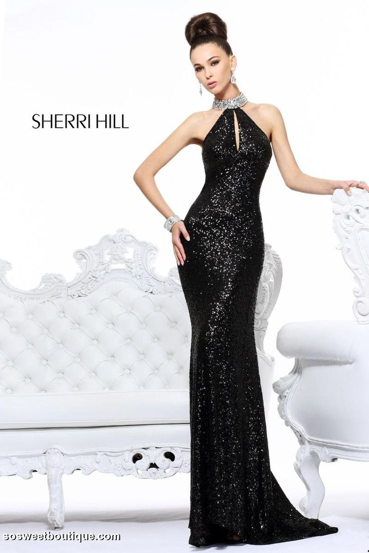 Sexy backless sheath hollow beading splitfront long black evening