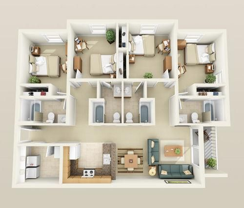 Home Architecture, Four Bedroom Apartment Floor Plans Modern Chic Detail Clear Fascinating View Interior Decoration House Decoration Small House Plans Modern House Plans Design With Contemporary Furniture: Four Bedroom House Plans With Large Room Size As The Best Reference For You