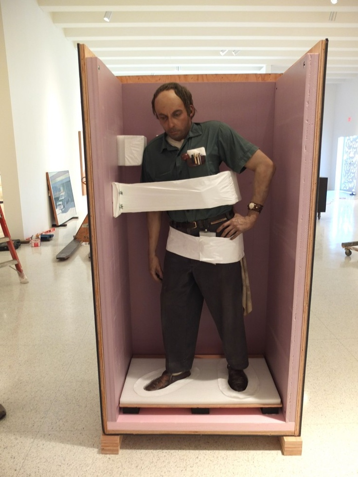"Duane Hanson's ""Janitor"" packed for transport and arriving at The Walker Art Museum."